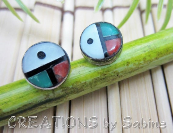 Zuni Sunface Earrings Turquoise Coral Mother of Pearl Sterling Silver Native American Indian Symbol Round Studs Vintage FREE SHIPPING (266)