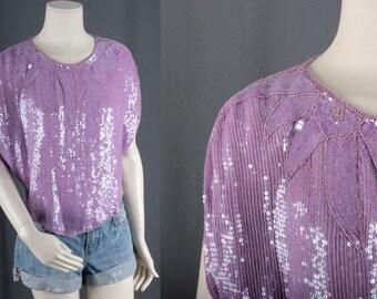 Sequin Poncho purple top blouse 70s disco bohemian hippie gypsy kimono size S small