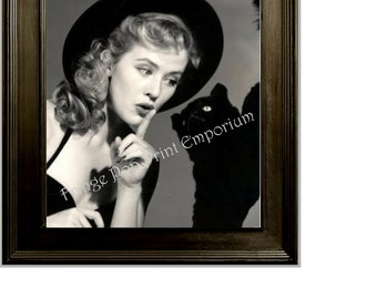 Retro Pin Up Witch Art Print 8 x 10 - With Black Cat - Pinup Kitsch Rockabilly 50s