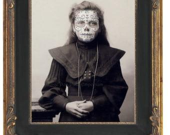 Sugar Skull Girl Art Print 8 x 10 - Altered Art Victorian Day of the Dead - Oddity - Goth - Makeup Dark Art