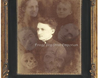 Victorian Ghost Art Print 8 x 10 - Altered Art Spirit Photo - Woman Surrounded by Ghosts Spirits - Seance - Spiritualism - Occult - Skulls