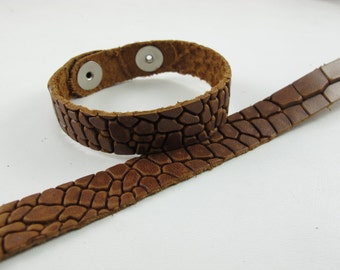 "Cognac Dragon Leather Cuff Bracelet 5/8"" Wide"