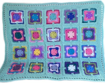 Crochet baby blanket crochet baby afghan art deco granny square 32 in. x 38 in., seafoam border, Version 2, READY TO SHIP