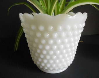 Vintage Fire King planter white milk glass, vase hobnail, scalloped