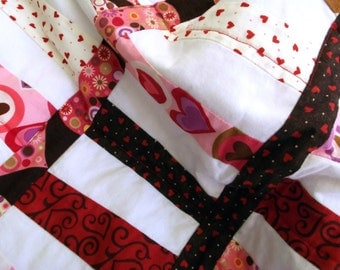 Quilt, Adult Teen or Child's Throw, Blanket of Hearts