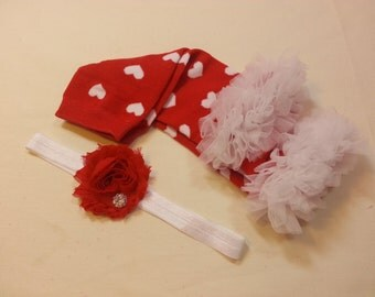 Valentines Day Leg Warmers Headband Set, Red Heart Leg Warmers, Ruffle Heart Leg Warmers, Red Flower Headband, Girls Red Valentine Outfit