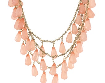 Pretty Pink Grape Shape Beads Drop Down Triple Layers Necklace