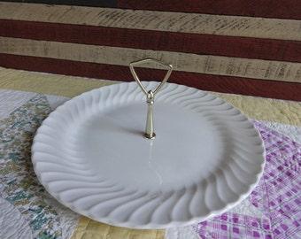 Vintage SHEFFIELD BONE WHITE Gold Handled Serving Platter Tidbit Tray Wedding Bar Buffet Tea Party Cookies Sandwiches