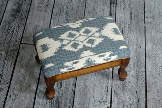 Small Vintage Wooden Upholstered Footstool With Blue