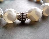 "One of a Kind / Ivory Agate Bracelet / White / Giraffe Pattern / Silver / Bead / Flower / Sterling Silver / Opaque - 7 3/4"" long -"