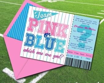 Sale!! INSTANT DOWNLOAD, Team Pink or Blue 5 x 7 Printable Invitation, Gender Reveal, You Edit Yourself in Adobe Reader