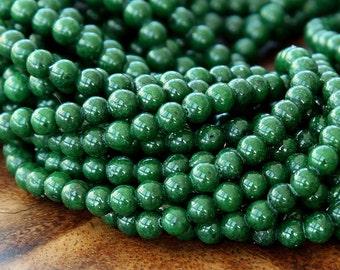 Mountain Jade Beads, Forest Green, 4mm Round - 15 Inch Strand - eMJR-G26-4