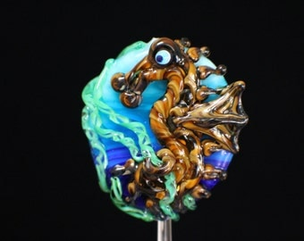 Seahorse in the Seaweed, Medium Handmade Lampwork Moretti Glass Focal Bead, Blue, Green, Raku