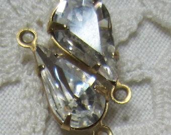 Swarovski Crystal 19MM  Brass Rhinestone Pear Teardrop 2 Loop Connector