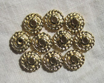 Large Rope Style 10MM  Gold Plated Bead Caps, Anti-Tarnish