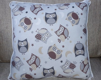 "Woodland Owl Pillow in Gray, Brown and White 14""x14"" - ""Wise Owls Pillow"""