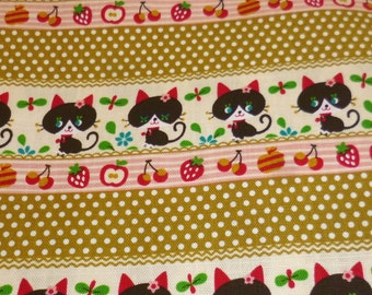 Polka Dots Fruits and Cats Japanese Cotton Fabric