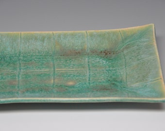 Green ceramic serving tray with squares texture, housewarming gift, wedding gift, Holidays gift