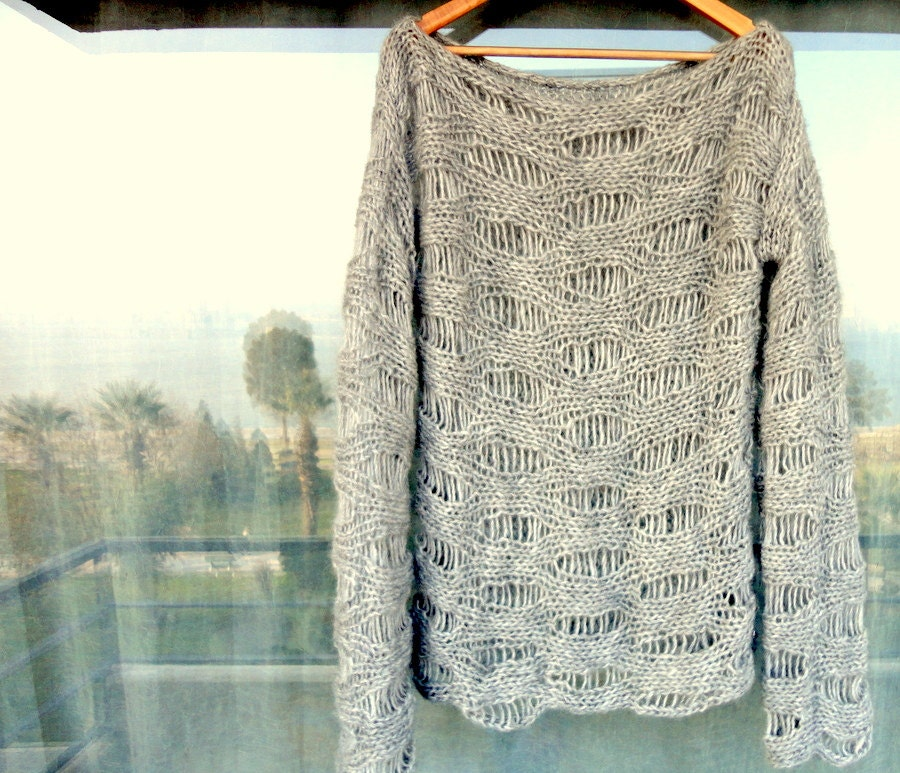 Boho Sweater Open Knit Slouchy Pullover Unisex