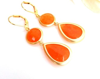 Orange and Orange Gold Dangle earrings, Drop, bridesmaid gifts, Gemstone,Wedding jewelry