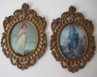 """Lot Of 2 Ornate Brass Portrait Picture Art Frames Made In Italy Gold Tone 11"""" x 7"""" Vintage E393z"""