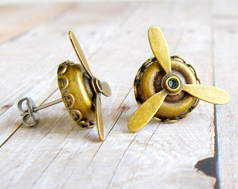 Propeller - antique brass post earrings