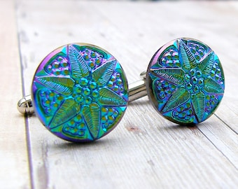 Poinsettia -vintage glass button cufflinks
