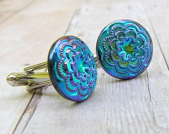 Lace - vintage glass button cufflinks
