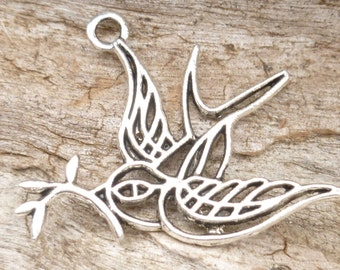Antiqued Silver Filigree Metal Work Swallow Peace Dove Charm Pendant (6) - S12