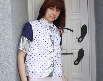 A 'Janet' Navy Polka Dot Jacket