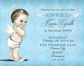 Vintage Blue Damask Boy Little Angel 1st First Birthday Party Invitation and FREE Thank You Card Printable DIY - Vintage