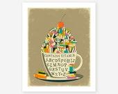 READ, Educational Pop Art Poster for the home decor, Inspirational Fine Art Print