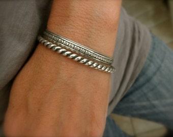 Sterling silver tiny flower design Cuff bracelet