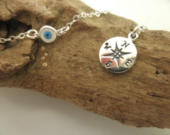 Compass and evil eye charms necklace sterling silver