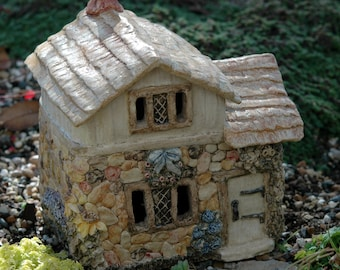 Stone House Fairy Cottage hand-sculpted and painted by artist Mary Sallee Stams