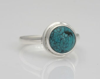 Turquoise ring, size 8 1/2 turquoise and silver ring, # 506.
