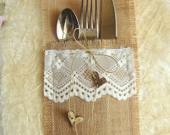 Burlap Flatware holders for weddings, 100 Wedding Table Setting,Rustic Flatware Pockets