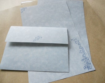 Parchment paper stationery set. Bluebells hand stamped on to blue parchment paper with hand made envelopes, set of 30