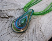 JEWELRY SALE- Green, Purple, Blue Necklace- Glass Teardrop with Seed Bead Strands