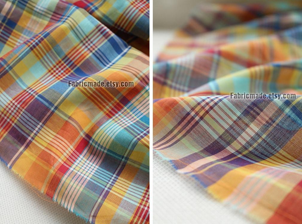 Sale Bright Rainbow Plaid Cotton Fabric Light Weight
