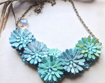 First Anniversary Gift - Paper Jewelry - Chic Flower Bib Necklace