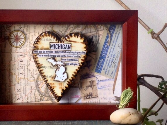Anniversary gift men michigan map state and heart