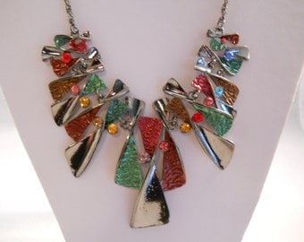 Gunnie Silver Tone Pendant Bib Necklace with Multi Color Beads