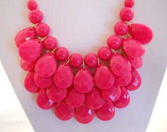 3 Strand Bib Necklace with Red Teardrop Beads on a Gold Tone Chain