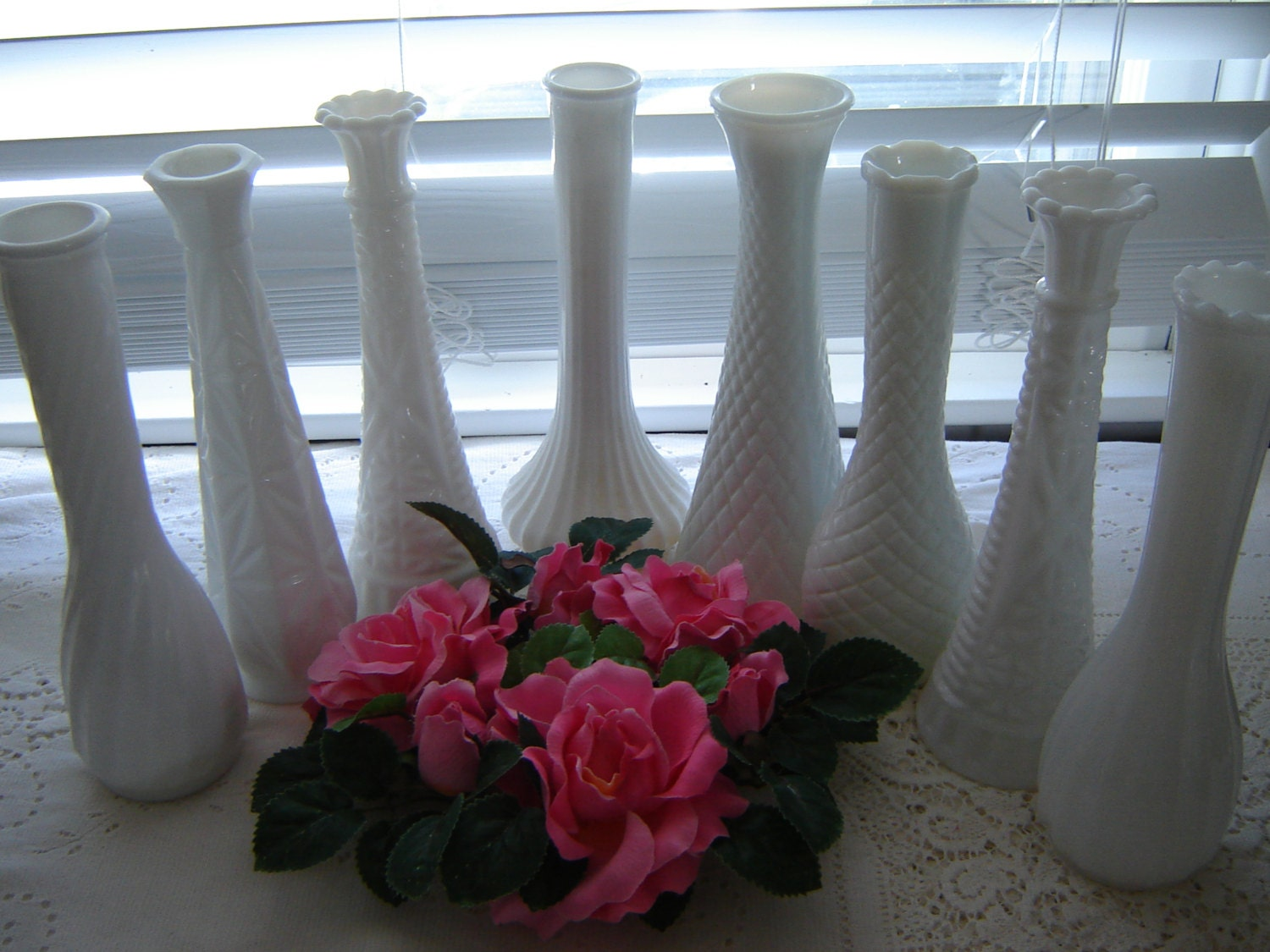Vintage Milkglass Tall Vases Wedding Table Centerpiece 9 Pc