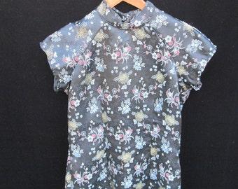 Chinese Dress Black Floral Tapestry Satin Silk Short