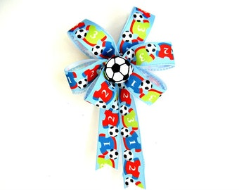 Soccer sports bow/ Soccer gift bow/ Small sport bow/ Gift for soccer players and fans/ Soccer themed party decoration (FN52)