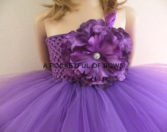 Purple Flower Girl Tutu Dress, Formal dresses, Long Tutu Dress