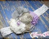 Lavender Hair Accessory, Lilac, Grey, White Bridal Headband, Lavendar Flower Girl Hair Piece, Light Purple Flower Clip, Baby Hair Bow, Gray