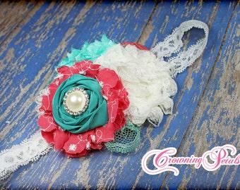 Coral Pink, Teal, Ivory Headband, Fabric Flower Hair Accessory, Turquoise, Aqua Hair Bow, Flower Hair Piece, Hair Clip, Baby Girl Headband